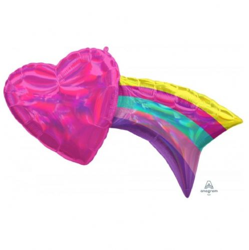 "ANAGRAM IRIDESCENT HEART WITH RAINBOW SHAPE P40 PKT (33"" x 18"")"
